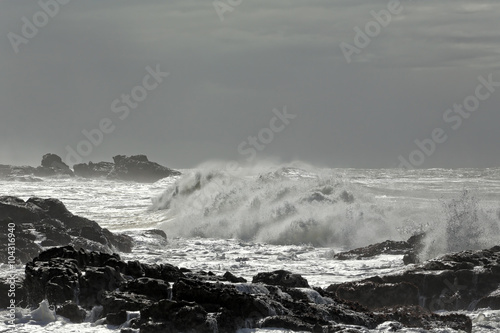 Dark rocky beach