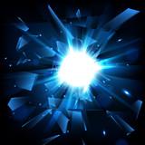 Fototapety Blue techno style vector explosion. Shatter Glass. Vector illustration