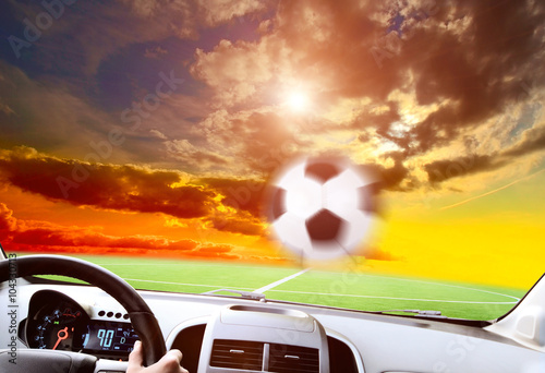 Soccer players in action on sunset stadium background panorama - 104330713