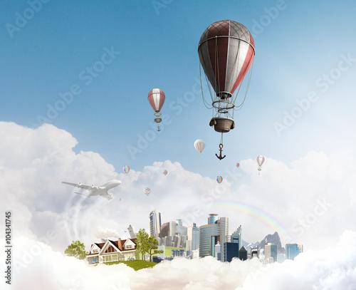 Deurstickers Ballon Air balloon in summer sky