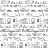 Seamless pattern with hand drawn city street