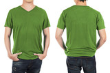 Close up of man in front and back green shirt on white backgroun