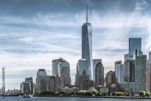 Skyline of lower Manhattan of New York City with World Trade Center Poster