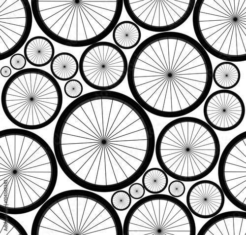 Materiał do szycia Cute vector seamless pattern with bike wheels. You can use any color of background