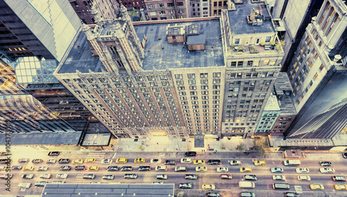 Vintage photo of New York streets from rooftop - 104373389