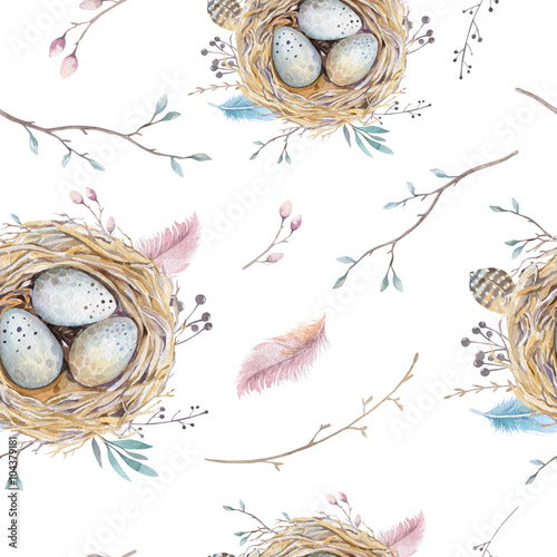 Materiał do szycia Watercolor natural floral vintage seamless pattern with nests,wr