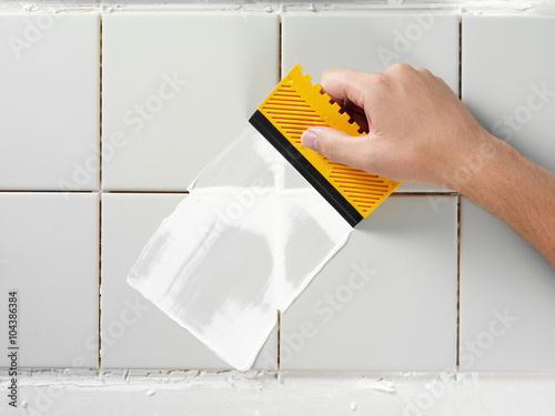 TILING AND GROUTING A WALL Poster