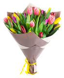 bouquet of 25 colorful tulips in kraft paper, isolated on white