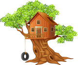 Fototapety Beautiful tree house cartoon