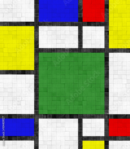 Fototapeta Fliesenwand im Mondrian Stil