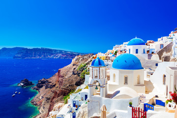 Oia town on Santorini island, Greece. Caldera on Aegean sea. © Photocreo Bednarek
