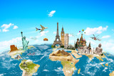 Fototapety Famous monuments of the world surrounding planet Earth