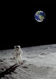 a lunar walk beneath the shining earth (some elements courtesy of nasa) - 104432742