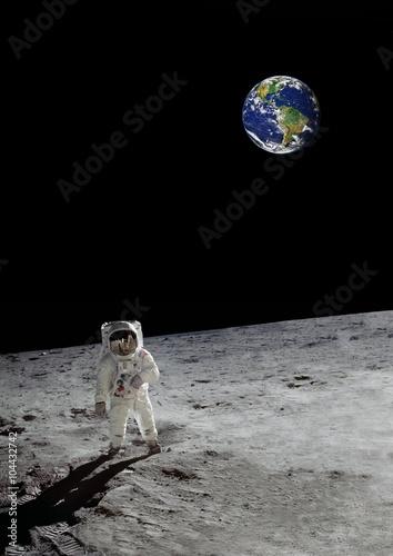 a lunar walk beneath the shining earth (some elements courtesy of nasa)
