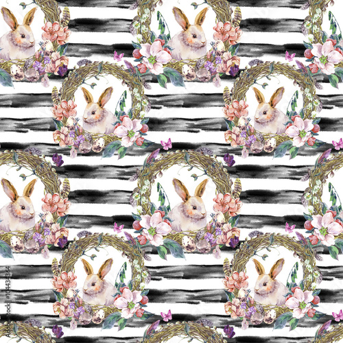 Cotton fabric Watercolor spring Happy Easter Seamless Pattern