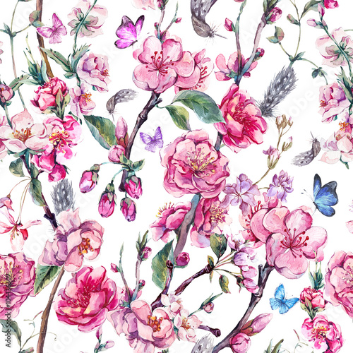 Spring seamless background with pink flowers - 104436309