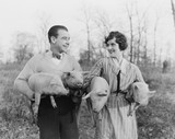 Couple carrying pigs  - 104453194