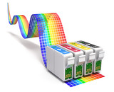 Printing concept with CMYK set of cartridges for ink jet printer - 104460162
