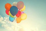 Fototapety multicolor balloons with a retro instagram filter effect, concept of happy birthday in summer and wedding honeymoon party (Vintage color tone)