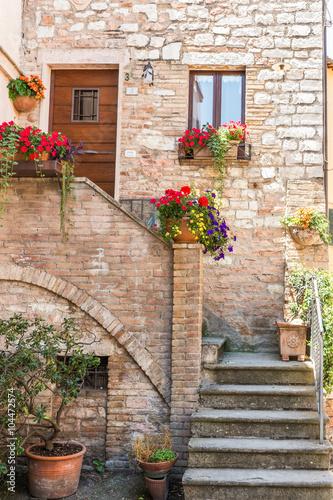 Fototapeta Ingresso romantico di abitazione storica con vasi di fiori
