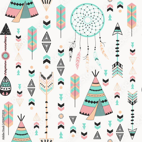 Tribal Style Arrows Seamless Pattern - 104475939