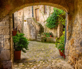 Fototapety Narrow street of medieval tuff city Sorano with arch, green plants and cobblestone, travel Italy background