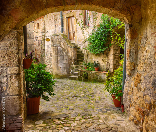Fototapeta Narrow street of medieval tuff city Sorano with arch, green plants and cobblestone, travel Italy background