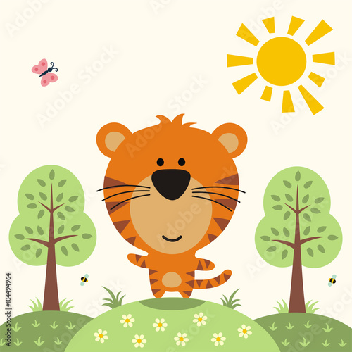 mata magnetyczna funny tiger, asian animal, cute little tiger on nature