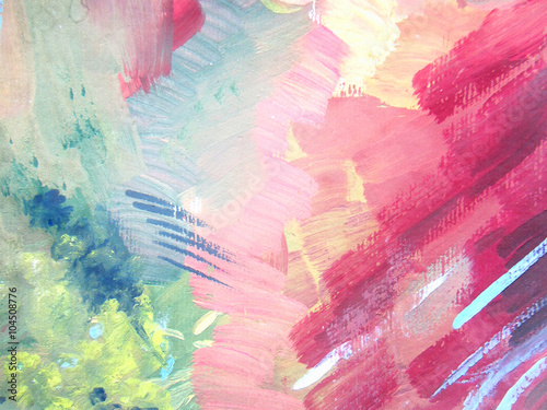 Abstract brush painting background. Children's gouache drawing - 104508776