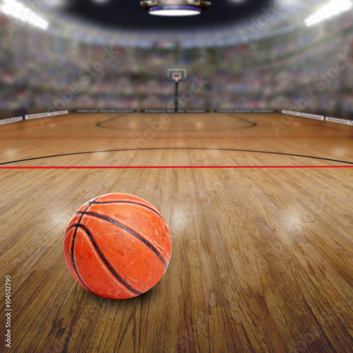 obraz PCV Basketball Arena With Ball on Court and Copy Space. Rendered in Photoshop.