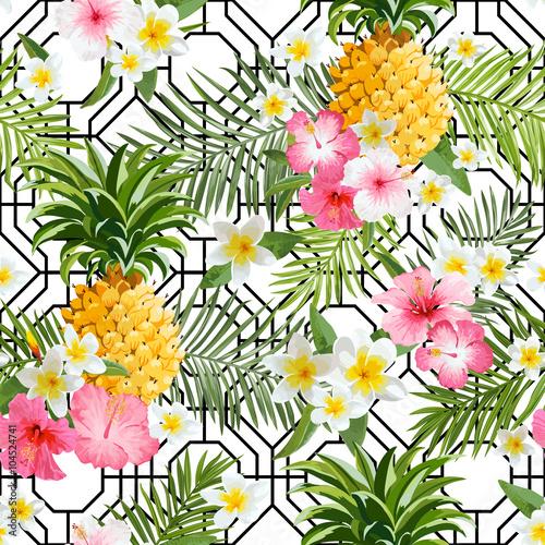 pinapples-i-tropikalny-kwiat-geometrii-tlo-rocznika-bezszwowy-wzor