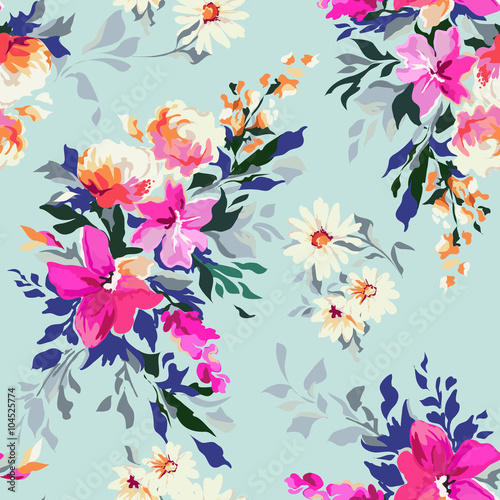 Cotton fabric Bright floral print ~ seamless background