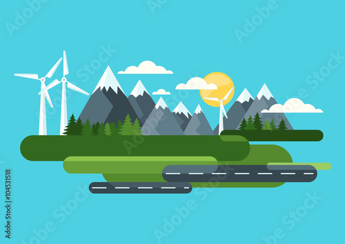 Fotobehang Turkoois Ecology and environmental concept. Green landscape, mountains and wind turbine, alternative energy generators. Vector flat style illustration. Summer travel and outdoors background.