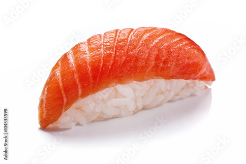 Papiers peints Sushi bar Smoked salmon sushi isolated on white