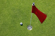 Golf ball on green with red flag.