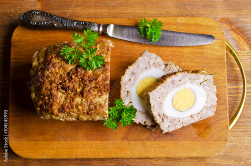 Poster Meat Loaf with boiled egg