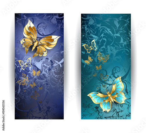 Foto op Aluminium Vlinders in Grunge Two banners with gold butterflies