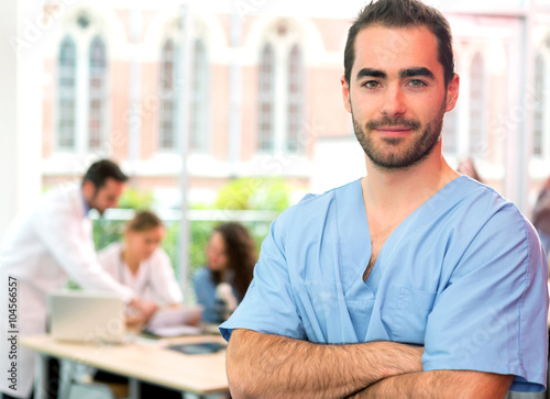 Portrait of a young attractive nurse at the hospital Plakat