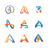 Abstract Letter A Design Logo Set