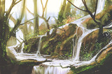 Fototapety waterfall in forest,illustration painting