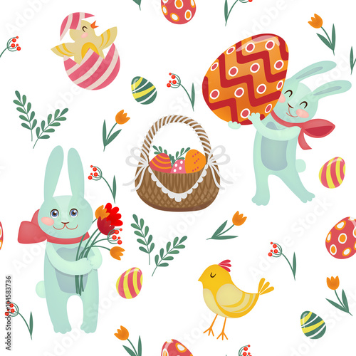 Materiał do szycia Happy Easter Seamless Pattern with Bunnies, Chicks, Eggs and Flowers