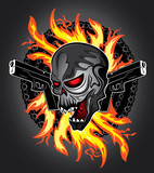 shouting skull with fire and guns