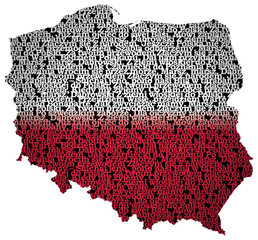 Typography map of Poland with text of Polish national anthem