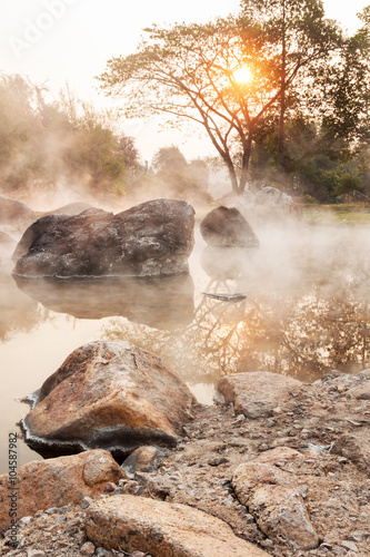 Sunrise at hot spring