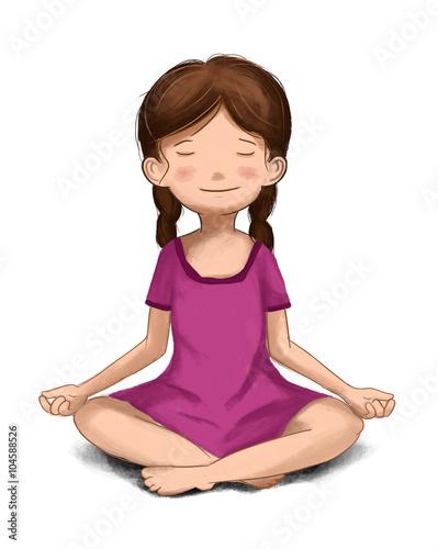 Niña meditando. Meditación infantil, Niña tranquila en calma. Practicando yoga
