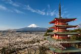 Góra Fuji z pagoda i wiśniowe drzewa, Japonia