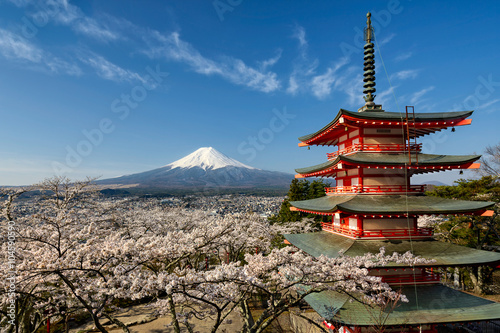 Mount Fuji with pagoda and cherry trees, Japan Poster