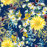 Fototapety Yellow and white flowers with violet leaves and floral elements on the dark blue background. Watercolor seamless pattern with summer flowers. Gerbera and daisies.
