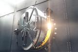 Closeup of bank vault door