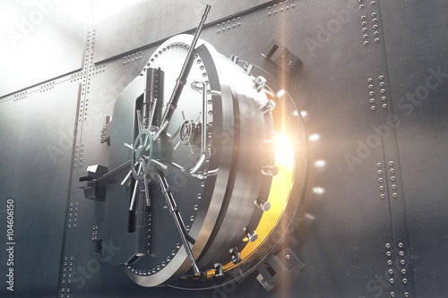 Poster Closeup of bank vault door